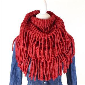 Steve Madden red fringe snood infinity scarf wrap
